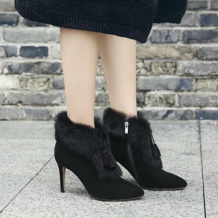 秋冬季鞋子毛毛鞋短靴子细跟高跟鞋真灰色女靴子流苏女尖头
