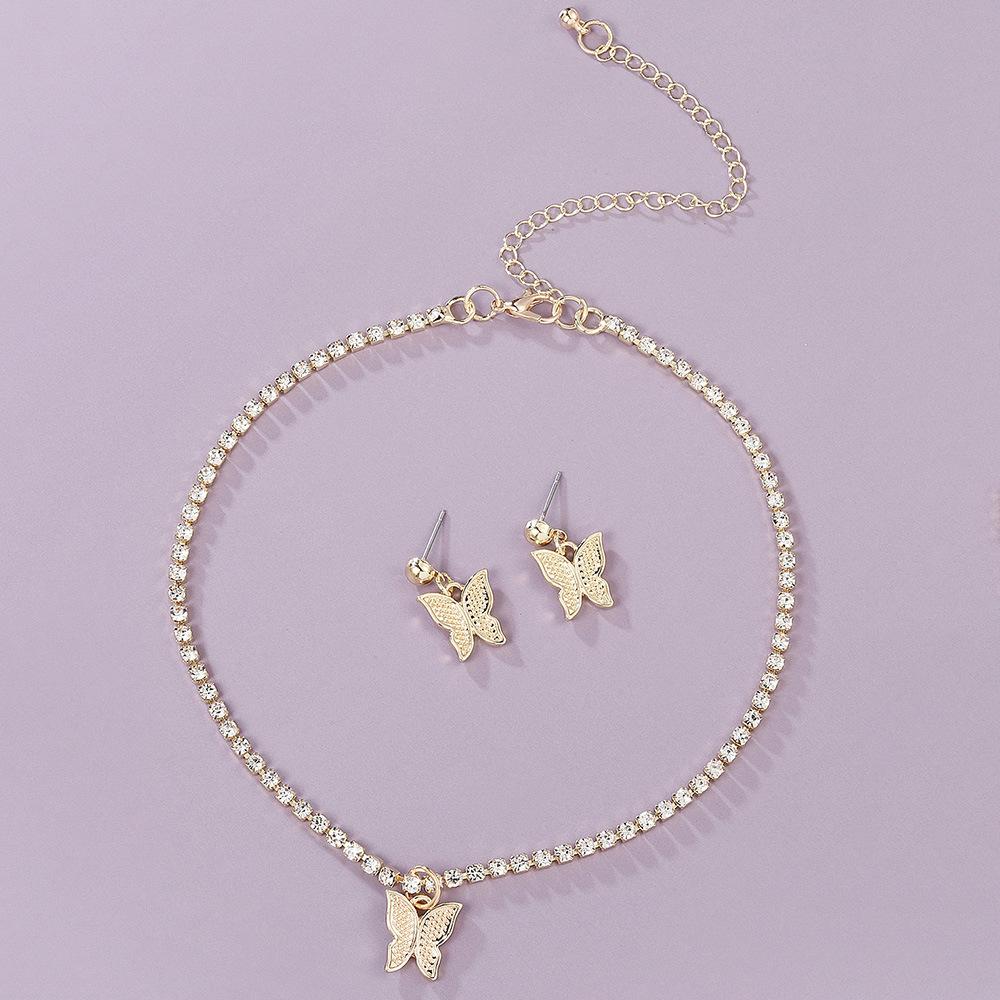 Lovely專注飾品 歐美時尚蝴蝶項鍊耳釘成套Butterfly Necklace Earring Set women