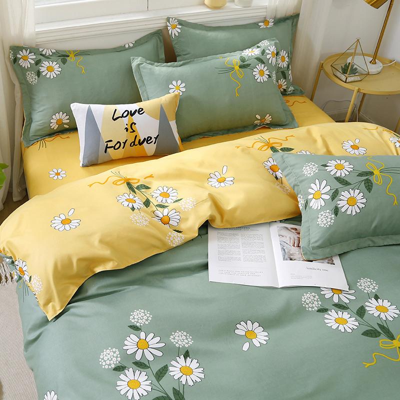 水洗棉四件套床上用品夏季被套被单学生宿舍冰丝床单人3三件套男4