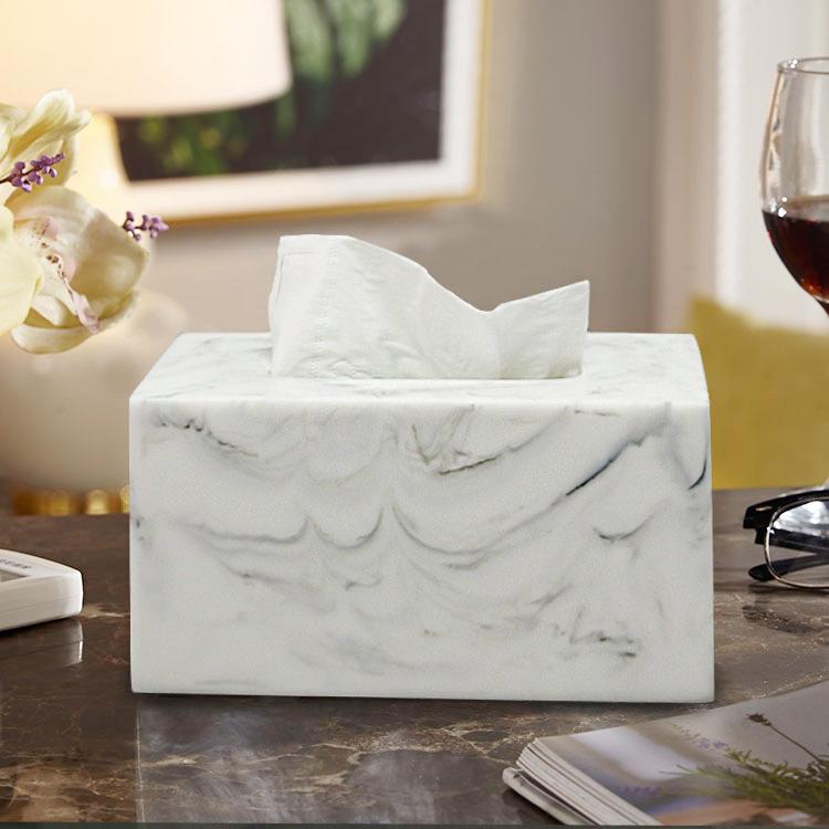 家用简约纸巾盒收纳抽纸盒欧式客厅茶几大理石纹创意时尚圆卷纸筒