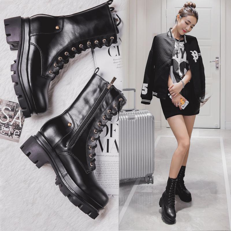 英伦机车马丁靴女中筒骑士女靴2017新款冬季粗跟厚底短靴中靴军靴