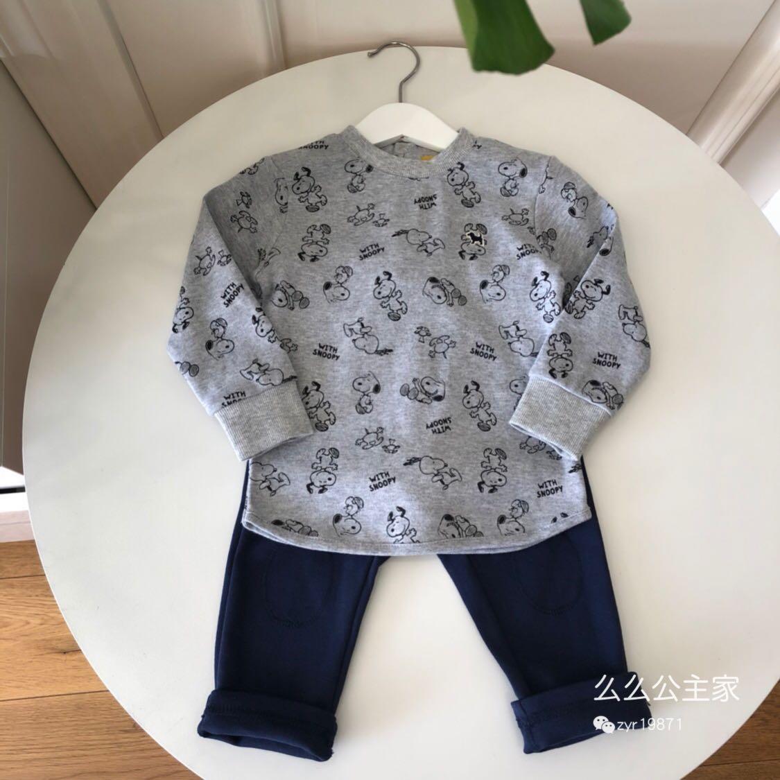 2018秋款v长裤韩国长裤套装大牌长袖纯棉T恤+高端两件套男童