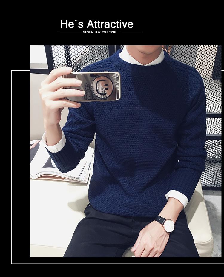 高仿圣罗兰ysl冬季毛衣男士针织衫纯色韩版圆领JXN159 第17张