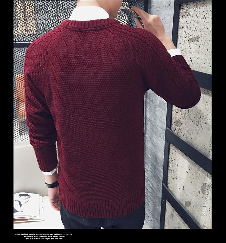 高仿圣罗兰ysl冬季毛衣男士针织衫纯色韩版圆领JXN159 第15张