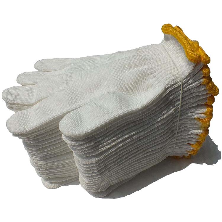 手套劳保耐磨棉线工作劳动工地修车加厚防滑白尼龙纯棉纱线线手套