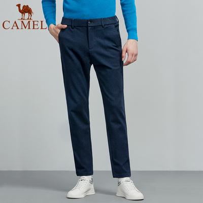 骆驼男装 冬季新款加绒休闲裤男韩版直筒加厚保暖长裤子男士