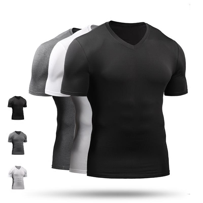 健身服男夏运动训练服吸湿排汗速干透气弹力紧身衣V领上衣短袖T恤