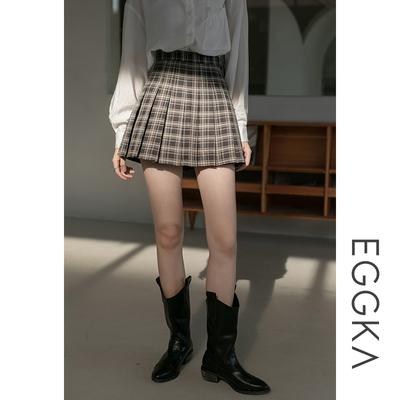 taobao agent EGGKA black plaid pleated skirt high waist a-line skirt female autumn new college style short skirt was thin grid skirt