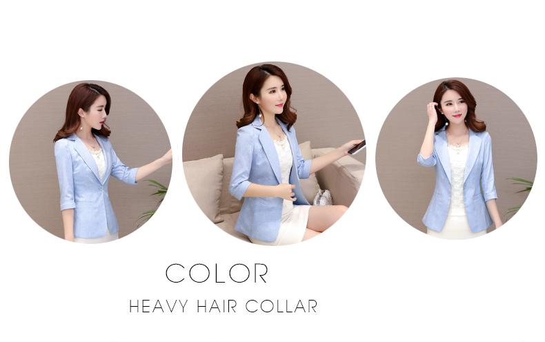 2018 mới trang phục mùa thu chic nhỏ phù hợp với bảy điểm tay áo Hàn Quốc phiên bản của tự trồng phụ nữ giản dị phù hợp với áo ngắn áo khoác