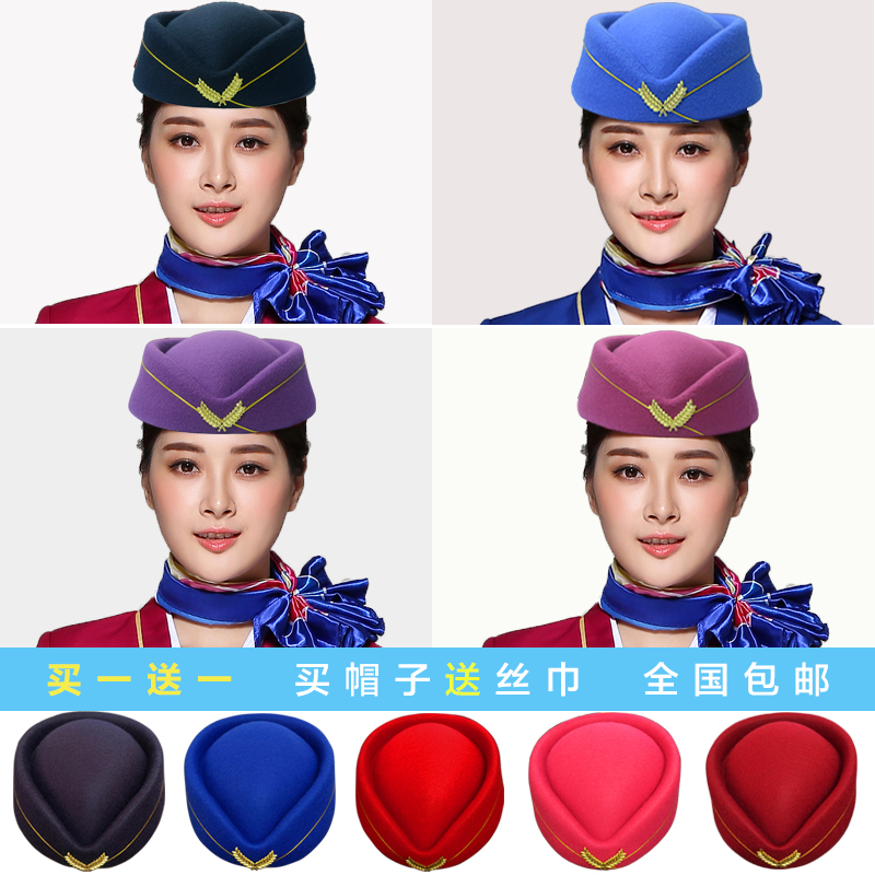 e643b0caa09 Factory direct wool aviation stewardess cap etiquette cap stewardess work  hat stage performance hat female band cap