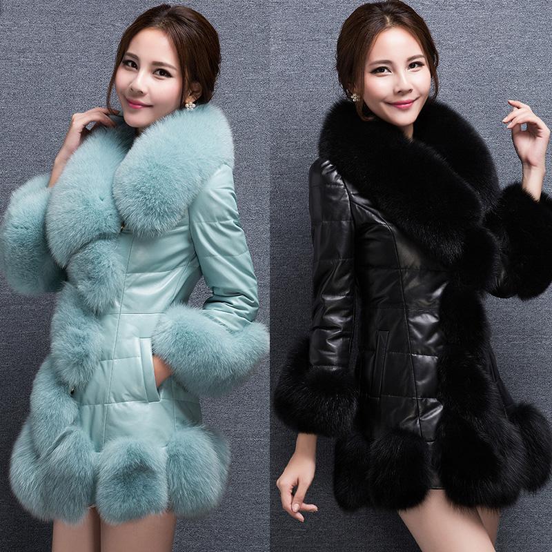 皮草新款海宁狐狸外套女士韩版毛领女中长款仿大衣冬装修身PU皮衣