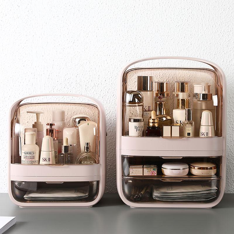 网红潘多拉化妆品收纳盒桌面护肤品置物架简约防尘手提宿舍大容量