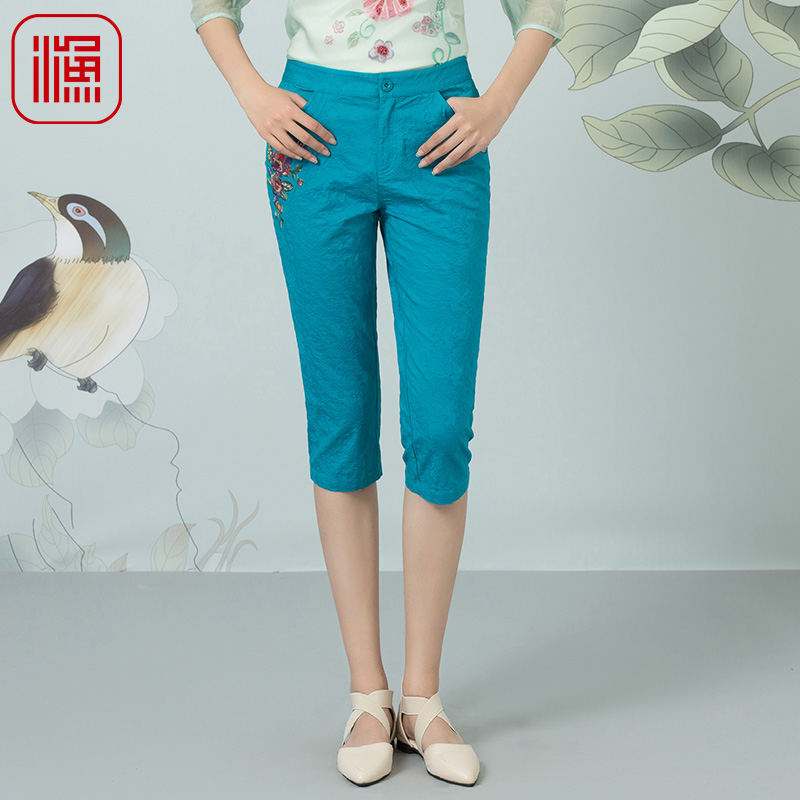 Fish brand 2018 summer wear new fashion pencil pants embroidered women's decoration casual pants.