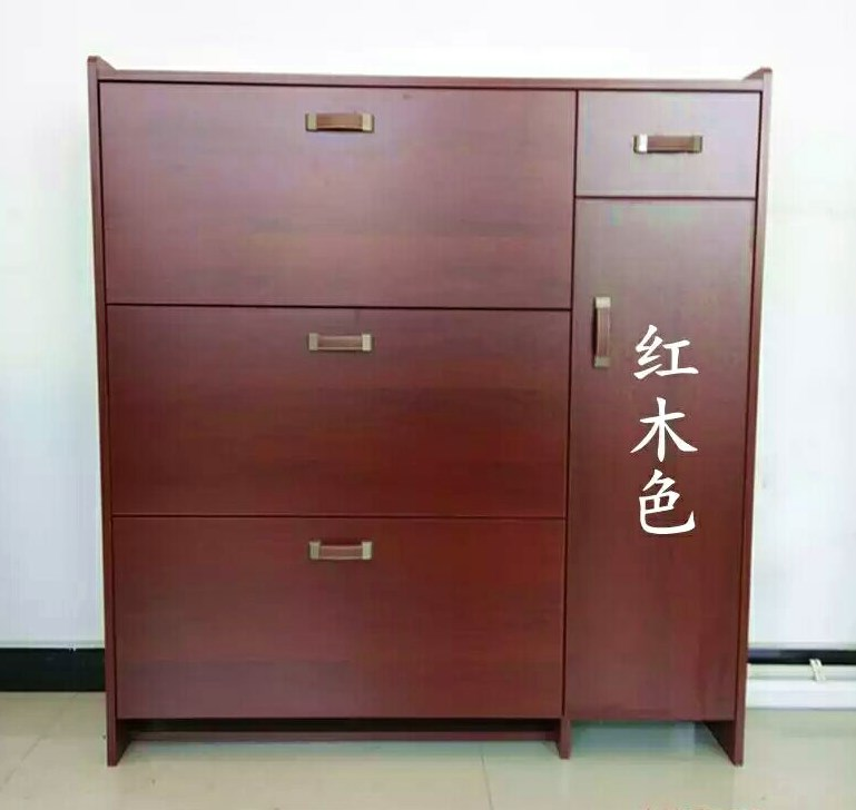 Simple modern ultra-thin shoe cabinet secret flip hall hall cabinet storage living room mahogany four-door with drawer economy