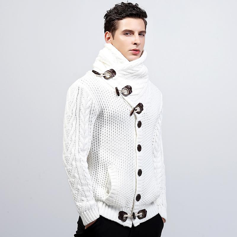 冬季a高领加厚可翻高领男式男士镂空潮男款针织衫毛衣开衫修身青年