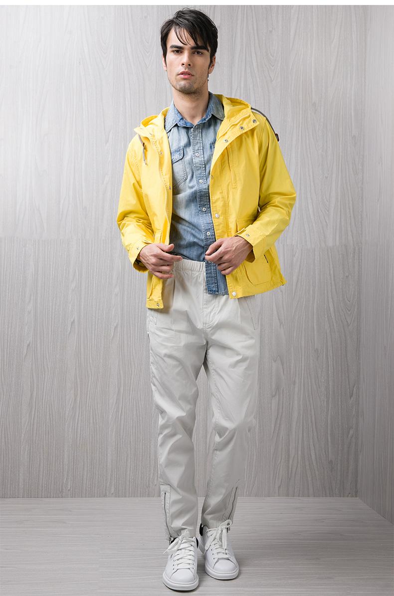 Kama KAMA mùa thu của nam giới thường áo khoác thời trang trùm đầu ngắn áo gió Mỹ 2116711