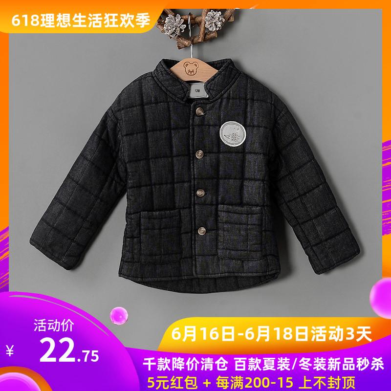 外套正品口袋撤柜女童折扣装贴布儿童品牌立领双小童格纹百搭冬