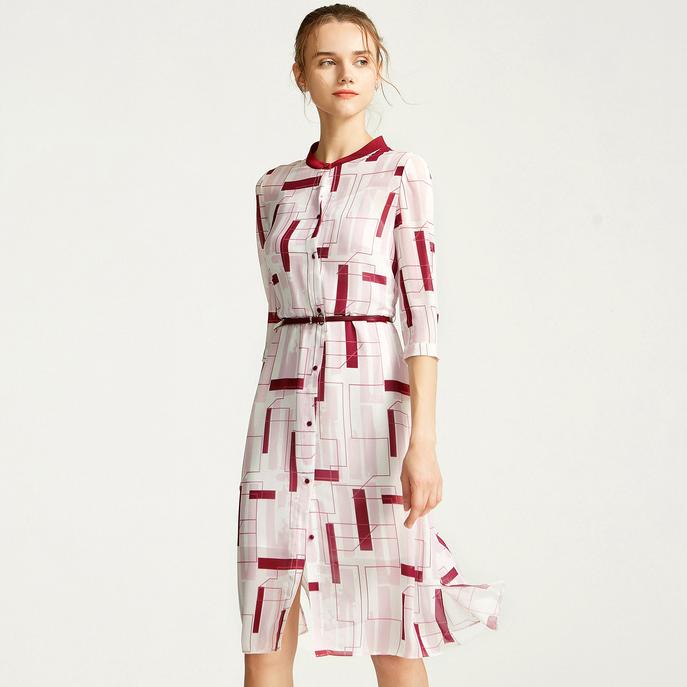 朗姿秋装2019年新款圆领印花粉色高腰中长款连衣裙收腰显瘦气质裙