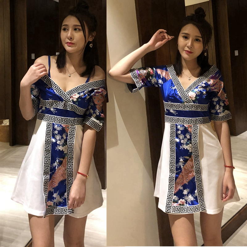 a2083f3fa50f Sauna bath massage health technician clothing kimono large size sexy slim  nightclub ladies dress short paragraph dress