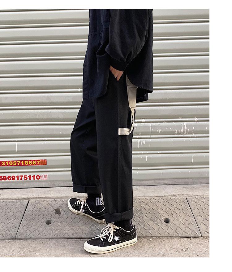 2020 春款港风 阔腿直筒垂感个性撞色大口袋休闲裤1911特P45 控68