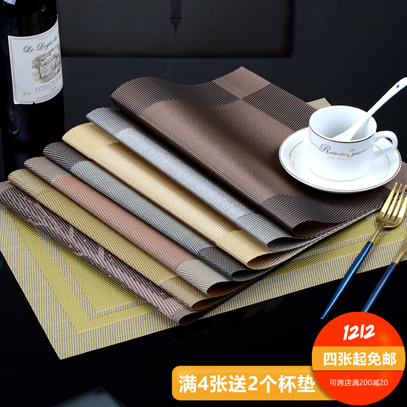 Spot Hotel Placemat Pvc Non Slip Insulation European Style Dining Table Pad Disposable Environmental Dishes Western Mat Color
