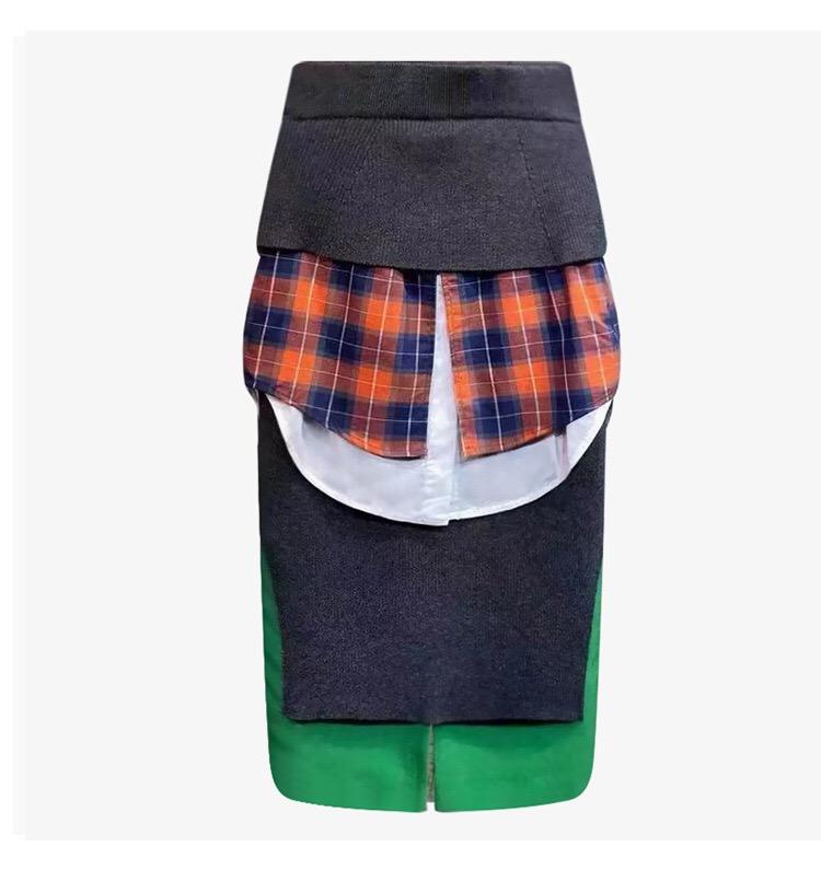 半身裙秋冬女短款过膝中长款拼接撞色混搭不规则设计多层高腰小众