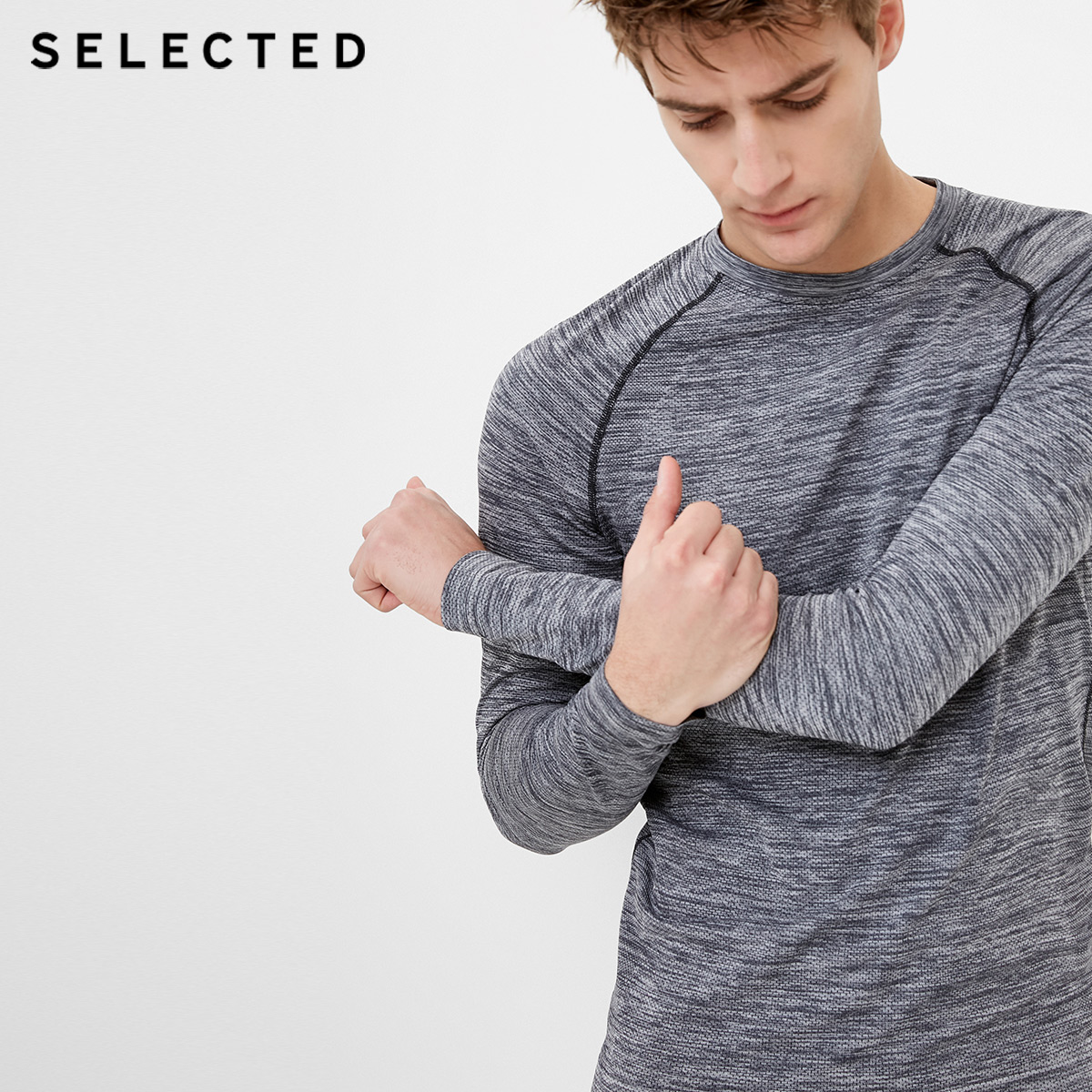 Собирать SELECTED мысль сорняки мораль новые товары мужчина быстросохнущие спортивный досуг длинный рукав вязание T футболки рубашка S|4181T2504