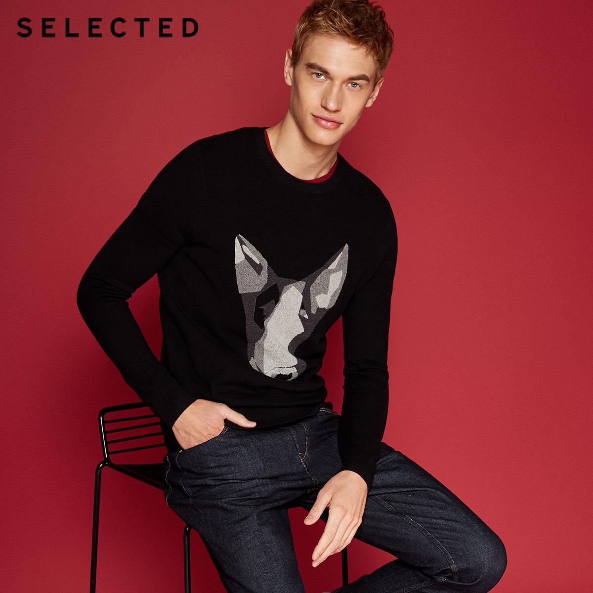 Собирать SELECTED мысль сорняки мораль бараны волосы круглый вырез тенденция случайный мужчина свитер свитер C|418124531