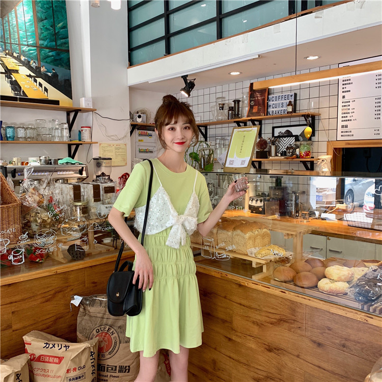韩版a纯色纯色收腰T恤连衣裙+亮片件套两吊带已检