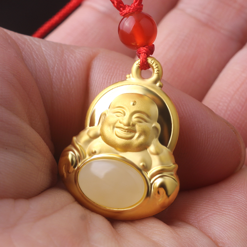 The new 24k gold buddha pendant female models maitreya gold 999 gold the new 24k gold buddha pendant female models maitreya gold 999 gold necklace pendant certificate to send his girlfriend aloadofball Image collections