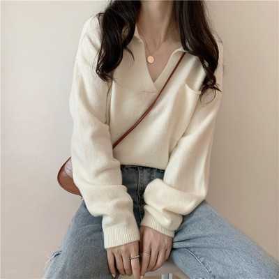 taobao agent Sweater women's outer wear spring and autumn thin western style Korean loose loose lazy little gentle wind pullover sweater top