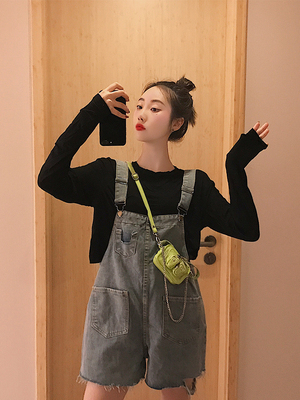 Summer goddess fan two-piece pants strap shorts long-sleeved T-shirt niche foreign age fashion suit women