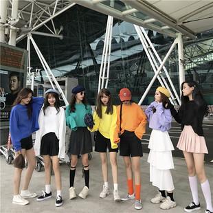 Chic ранняя осень куртка неосторожный ленивый 2018 новый корейский ретро порт вкус длинный рукав свободный t футболки женщина встряска звук в этом же моделье одежда