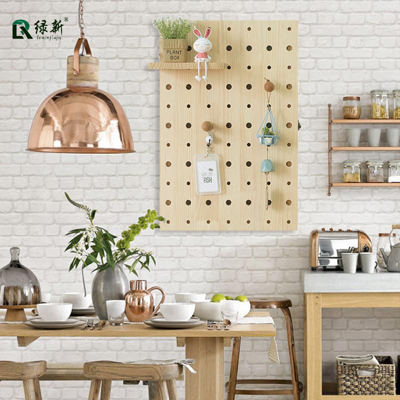 北欧ins实木洞洞板家用墙面电表箱装饰墙上置物架墙壁电闸箱遮挡