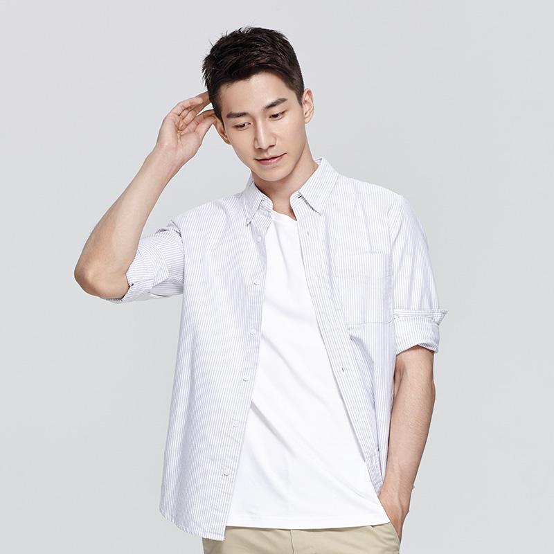 牛津纺纯棉长袖衬衫
