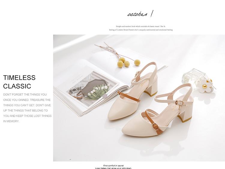 包头凉鞋女年新款夏季中跟粗跟仙女风尖头后空单鞋小高跟凉鞋详细照片