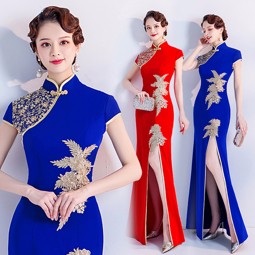 Evening dress prom gown Red Bride Wedding Toast dress stage show show show host wedding dress cheongsam