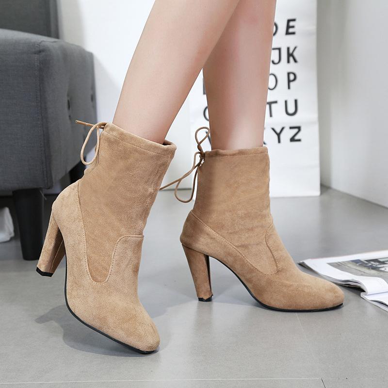 欧洲韩国韩版香港站靴子新款高跟同款短靴女秋冬粗跟圆头马丁明星