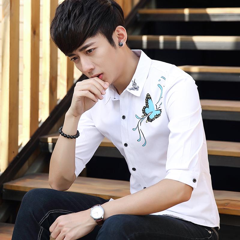 夏季韩版型男潮流发型师衬衫七分袖衬衫男士中袖青年修身衬衣