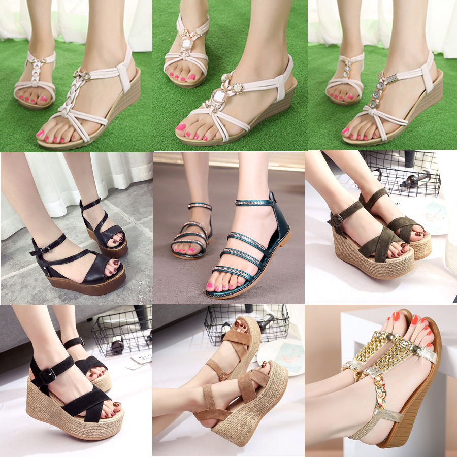 e74e3cbad65524 2018 summer new ladies sandals wear flat with slope with open toe students  beach shoes holiday shoes tide