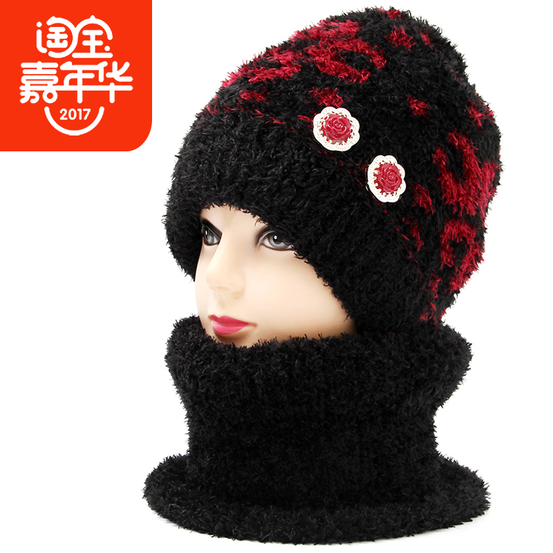老人围巾女冬奶奶黑色冬天帽子女老年人帽子女冬季加绒帽老太太帽
