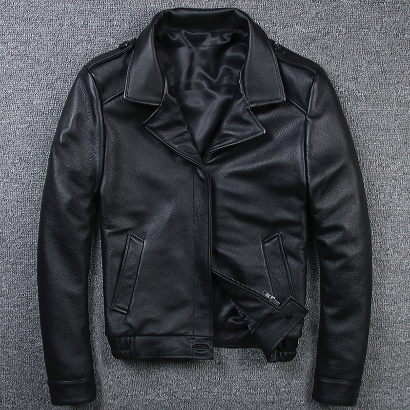 2020 New Leather Leather Men Lapel Short Top Layer Leather Jacket Business Casual Top Single Leather Jacket - Quần áo lông thú