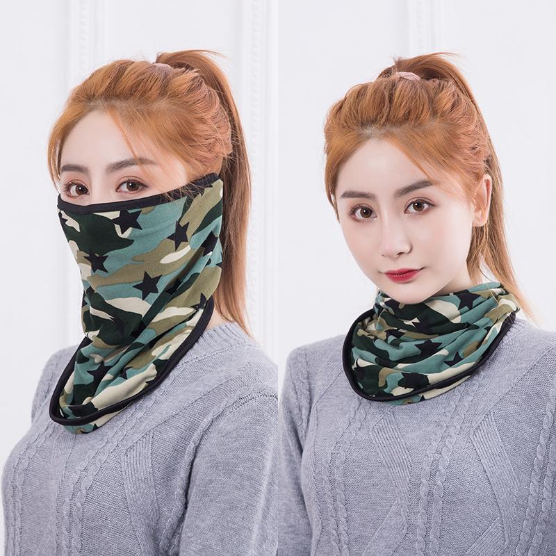 秋冬男女骑行保暖个性纯棉透气口罩防尘带围脖三角巾防风护耳面罩