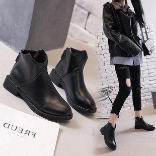 初秋款小短靴女小跟春秋冬季2018新款潮韩版低跟粗跟马丁靴子chic