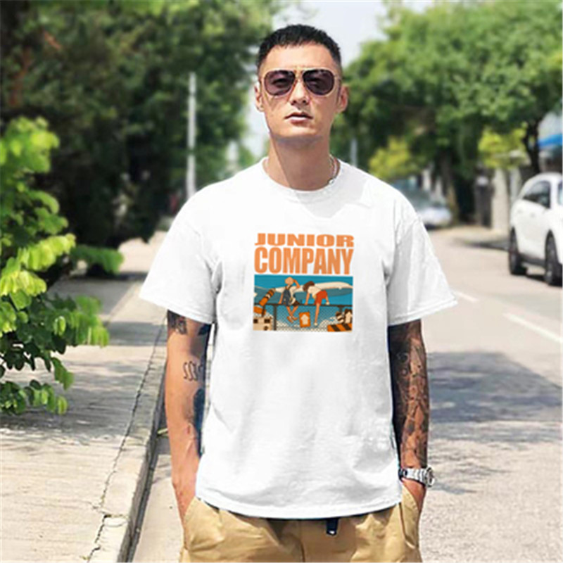 夏季青年日系男款短袖男宽松纯棉 男生潮流白色圆领纯色半袖T恤
