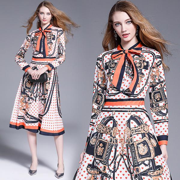 KTY7202#新款法式小众复古v领飘带印花长袖连衣裙