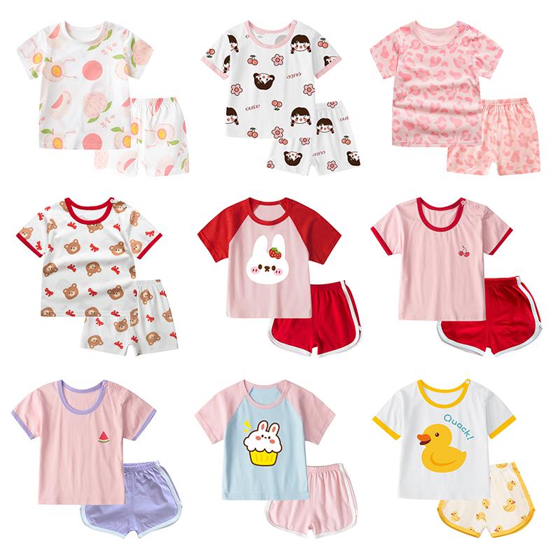 女女童宝宝纯棉儿童0夏季短袖套装夏装1短裤小童2婴儿童装衣服3岁