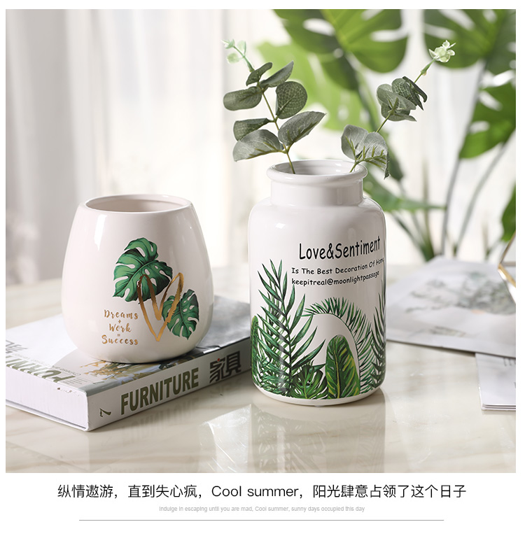 Little sitting room fresh rural household ceramic vase desktop furnishing articles flower arranging creative I and contracted Nordic ornaments