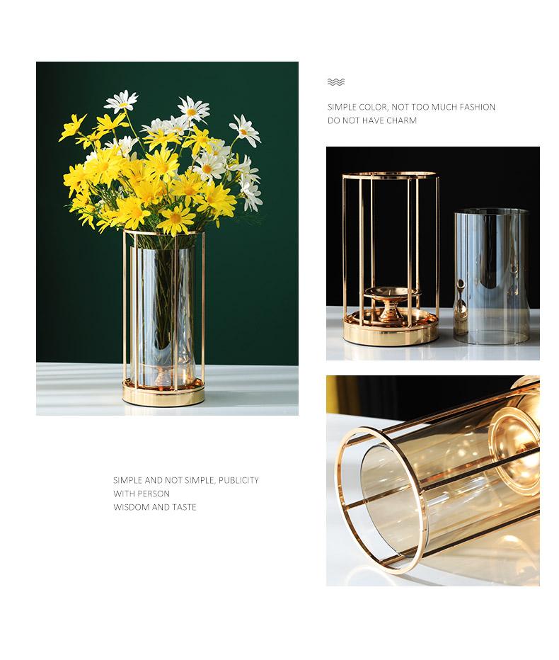 轻奢风玻璃花瓶摆件客厅插花干燥花北欧现代美式餐桌电视柜软装饰品详细照片