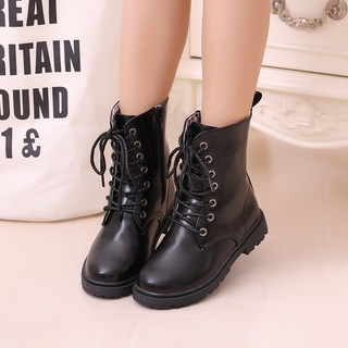 Children's boots, girls' leather shoes, children's military boots, boys' performance shoes, black middle and large children's snow boots, spring and autumn children's Martin boots